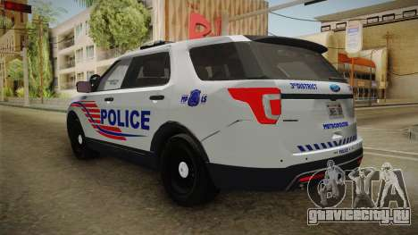 Ford Explorer 2016 Police для GTA San Andreas вид справа