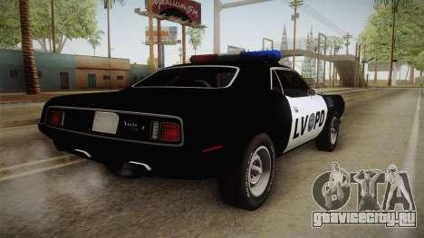 Plymouth Hemi Cuda 426 Police LVPD 1971 для GTA San Andreas вид слева