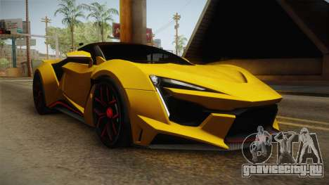 Asphalt 8 - Fenyr SuperSport W Motors для GTA San Andreas вид сзади слева