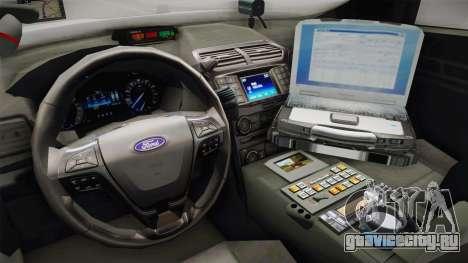 Ford Explorer 2016 Police для GTA San Andreas вид изнутри