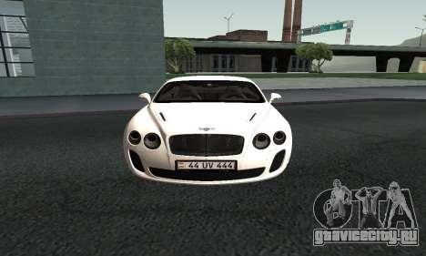 Bentley Continental GT Armenian для GTA San Andreas вид справа