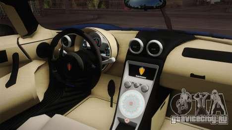 Koenigsegg Agera RS v1 для GTA San Andreas вид изнутри