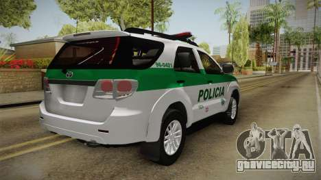 Toyota Fortuner Ponal Colombia для GTA San Andreas вид справа