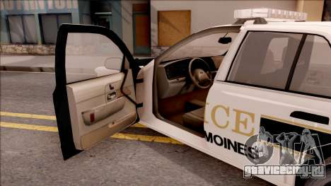 Ford Crown Victoria 2007 West Des Moines PD для GTA San Andreas вид изнутри