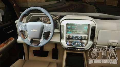 Chevrolet Cheyenne LT 2016 для GTA San Andreas вид изнутри