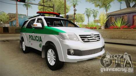 Toyota Fortuner Ponal Colombia для GTA San Andreas вид сзади слева