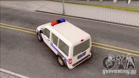 Ford Tourneo Connect 90PS Turkish Police для GTA San Andreas вид сзади