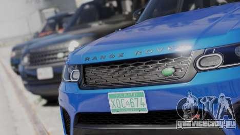 2014 Range Rover Sport SVR 5.0 V8 для GTA 5 вид сзади слева