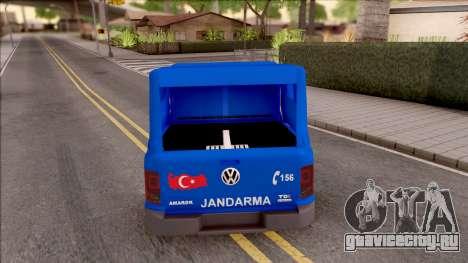 Volkswagen Amarok Turkish Gendarmerie Vehicle для GTA San Andreas вид сзади слева
