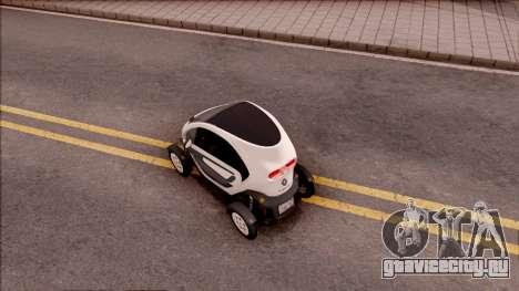 Renault Twizy 2012 для GTA San Andreas вид сзади