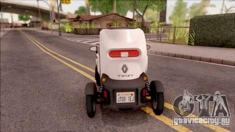 Renault Twizy 2012 для GTA San Andreas вид сзади слева