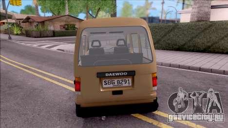 Daewoo Damas для GTA San Andreas вид сзади слева