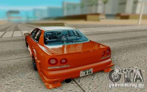 Nissan Skyline R34 Ura для GTA San Andreas вид сзади слева