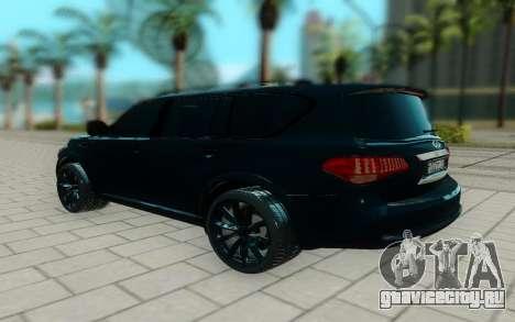 Infiniti QX56 для GTA San Andreas вид сзади слева