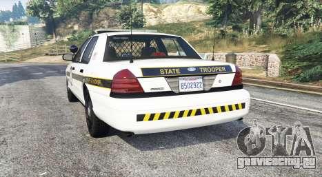 Ford Crown Victoria State Trooper [replace] для GTA 5 вид сзади слева