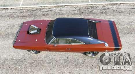 Dodge Charger RT (XS29) 1970 v4.0 [replace] для GTA 5 вид сзади