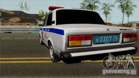 ВАЗ-2107 Полиция Города Ярославль для GTA San Andreas вид сзади слева
