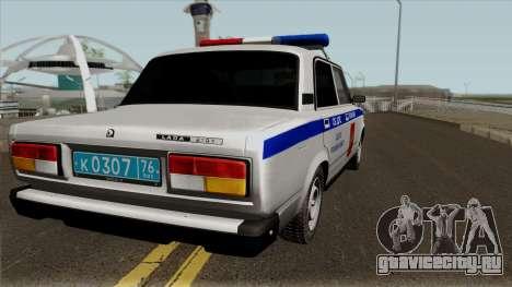 ВАЗ-2107 Полиция Города Ярославль для GTA San Andreas вид справа