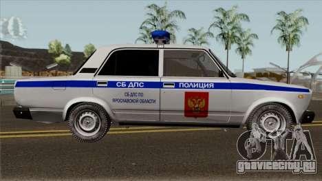 ВАЗ-2107 Полиция Города Ярославль для GTA San Andreas вид сзади