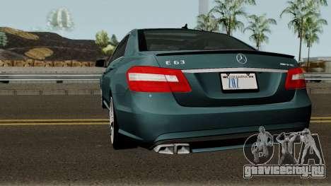 Mercedes-Benz W212 E63 AMG для GTA San Andreas вид сзади слева