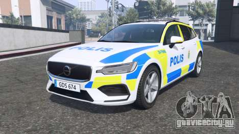 Volvo V60 T6 2018 Swedish Police [ELS] [replace] для GTA 5