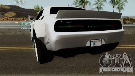 Dodge Challenger SRT Hellcat Rocket Bunny 2015 для GTA San Andreas вид сзади слева