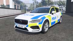 Volvo V60 T6 2018 Swedish Police [ELS] [replace] для GTA 5