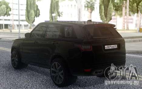 Land Rover Range Rover Sport SVR 2018 для GTA San Andreas вид сзади слева