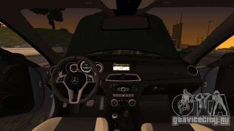 Mercedes-Benz C63 для GTA San Andreas вид изнутри